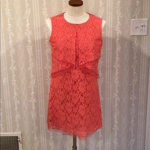 BCBG lace dress coral color size small
